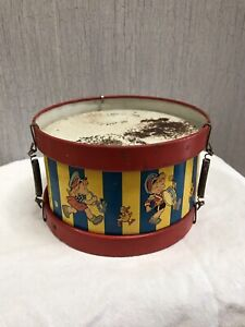 Vintage Tin Toy Drum Lithograph Children And Pets