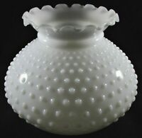 "Vintage 7"" White Glass Hobnail Student Lamp Shade Ruffled Top Rim Plain Band"