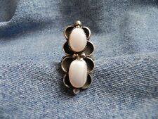Old Pawn BIG  Mother of Pearl Sterling Silver Ring size 8