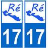 Autocollant 17 ile de ré  plaque immatriculation auto charente maritime 17