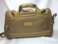 Vintage El Portal Brown Gold Weekender Duffel Bag Carry On Travel Bag