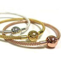 Snake Chain Bracelet Pave Set Bracelet Rose Gold Silver Snake Chain Barrel Clasp