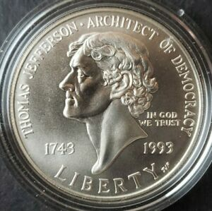 1993 P $1 Thomas Jefferson 250th Anniversary Commemorative Silver Dollar