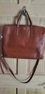Fossil Sydney Large Laptop Bag Brown Leather Unisex Business Work Tote