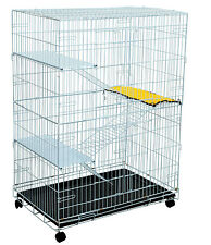 Pet Cat Play Pen Wire Metal Cage Kitten Large Folding Collapsible Wheel Rolling