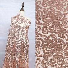 "Glitzy Rose gold stretch mesh sequin embroidery lace fabric 50"" wide 1 yard"