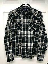 Ralph Lauren Slim Fit L/S Snap-Front Flannel Shirt: Women's Size 6, Black Plaid
