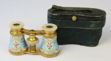 GORGEOUS! ANTIQUE Enameled OPERA GLASSES Roses FRENCH In Case LEMAIRE PARIS