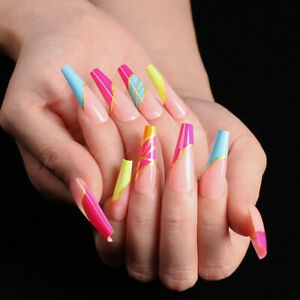 Gold Color Candy Stripe Design Fake Press On Nails Long Coffin False with Nails