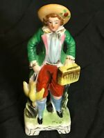 Vintage Hunting Figurine Porcelain Colonial Man with Duck Made in Japan