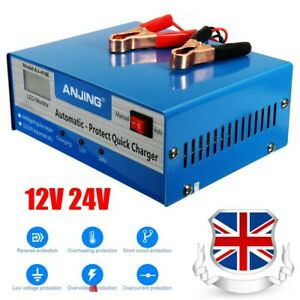 Car Battery Charger 10A Heavy Duty 12V/24V Vehicle Repair Lorry Boat UK Shipping