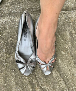 Worn Silver Leather Peep Toe Court Shoes Size 5 Eu38. By New look Kitten Heel