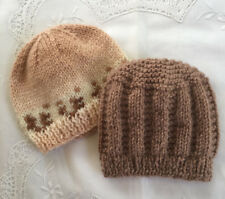 * 2 Premature (5lb) * Baby Beanies * (Warm) * Browns * Aust Hand Knitted