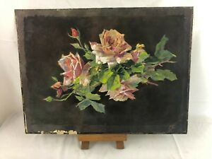 Vintage French Water Color Paper on Board of Roses Signed Marcel M? c1950s