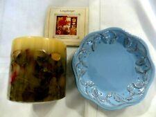 Longaberger Blue Vintage Vine Candle Holder w/ Inclusion Candle Htf Retired