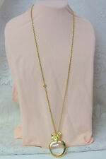 Vintage 70's Loupe Magnifying Glass Apple Pendant Long Gold Tone Chain  Necklace