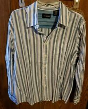 Men's No Boundaries Long Sleeve Dress Shirt Blue & Purple Stripes. Med (38/40)