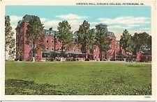 Virginia Hall at Virginia College in Petersburg VA Postcard