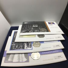 [2003 UK FDC]4x Guernsey 50p Coin First Day Covers 1953 Coronation Jubilee 2003