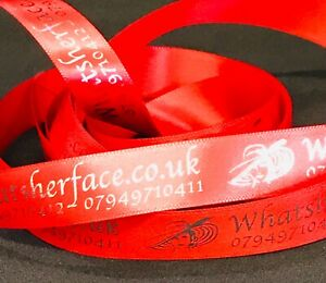 Personalised Printed Ribbon 25mm width Your Logo Any Message Single colour