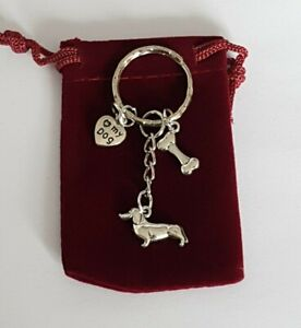 Dachshund/Sausage Dog Keyring with ❤ my dog and bone Charm, in Velvet Gift Bag