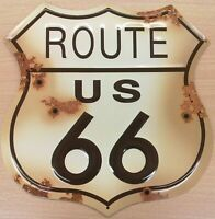 """Route 66 Highway Shield Distressed Look Tin Metal Sign 13 1/2 """" W X 14 """""""