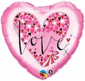 "I LOVE YOU BALLOON 18"" RACHEL ELLEN PINK HEARTS I LOVE YOU QUALATEX FOIL BALLOON"