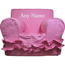 Insert For Pottery Barn Anywhere Chair + Pink Ruffle Cover Small Embroider White