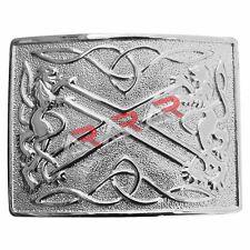 Kilt Belt Buckle Chrome Finish Scottish Saltire & Lion Band Item Classic Pin