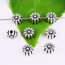 Silver Accessories Jewelry Findings 6x4mm 30pcsFlower Spacer Beads Metal Tibetan