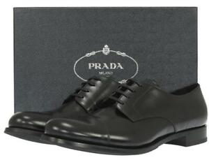 NEW PRADA SMOOTH LEATHER LOGO OXFORD DRESS CASUAL SHOES 14.5/US 15.5
