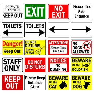 A4 A3 Warning Caution Directions Exit Vinyl Plastic Banner Plastic Wall Sign