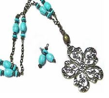 Necklace and earrings set, Turquoise vintage style, long, clip on or pierced