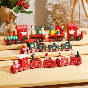 Christmas Train Wooden Ornaments Home Decorations Gifts - Green with Red Wheels