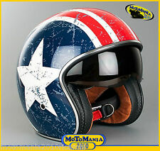 CASCO JET ORIGINE REBEL STAR BANDIT VINTAGE AMERICA CUSTOM VISIERA SCURA