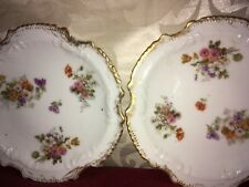 Limoges Latrille Freres Pair of Antique Porcelain Side Plates of Unusual Form