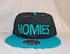 HOMIES SNAPBACK BASEBALL CAP HIP HOP ERA Black and Teal Embroidered New League