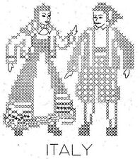 Vintage Embroidery transfer repo 3331 Cross Stitch Dolls of Nations Black Work