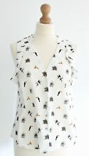 Ruffle Safari Animal Print Floaty Shirt Blouse Patterned Summer Holiday 10 White