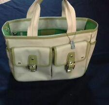 Summer Coach Bag Cream W/ Green Trim