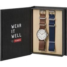 Orologio + Cinturino TIMEX WEEKENDER TWG012500 Pelle Marrone Tessuto Blu Vintage
