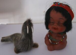 Doll a little Indian with a walrus. 1980s  Free International Shipping