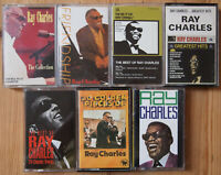 7x RAY CHARLES CASSETTE TAPES LOT RHYTHM & BLUES SOUL JAZZ ROCK 'N' ROLL