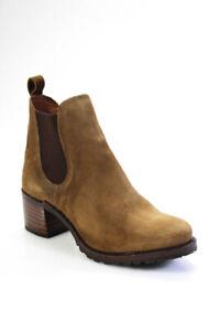 Frye Womens Suede Sabrina Chelsea Ankle Boots Chestnut Beige Size 10 Medium
