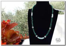 Collana donna pietre Agata verde e perle di Turchese 60 cm chiusura argento 925