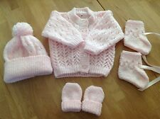 Hand knitted matching cardigan, hat, mittens & bootees, to fit newborn