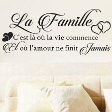 """Sticker Mural Texte """"La Famille C'est là où la vie commence et o�� l'amour..."""""""