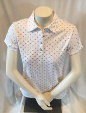Izod Womens Ladies Golf Sport Shirt, Sz Small, Solid White w/ Silver Polka Dots
