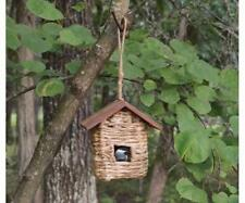 HANGING GRASS TWINE ROOSTING POCKET BIRDHOUSE with ROOF, SE935               #dm
