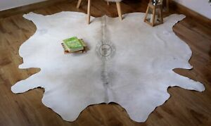 Cowhide Rug White Gray 6x6 ft Grey cow skin hide animal print Real Leather rug